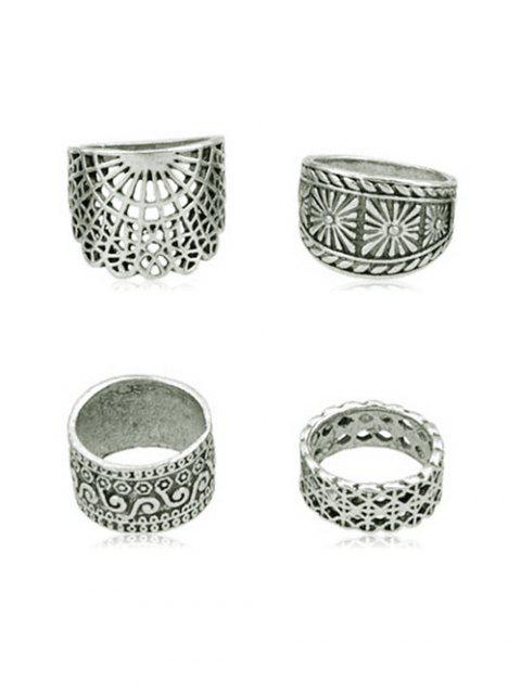 sale 4Pcs Vintage Wide Ring Set - SILVER ONE-SIZE Mobile