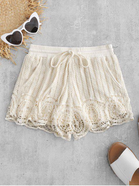 online Drawstring Crochet Shorts - CORNSILK ONE SIZE Mobile