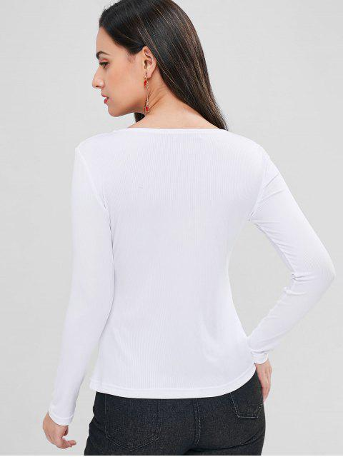 shop Buttoned Ribbed Top - WHITE M Mobile
