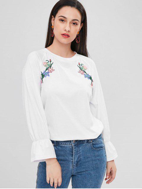 Blumen Besticktes Raglan Hülsen T-Shirt - Weiß 2XL Mobile