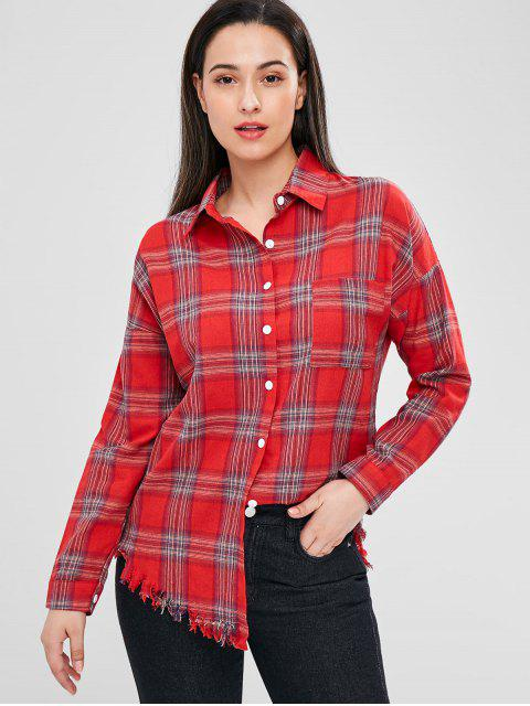 womens Raw Hem Checked Shirt - MULTI ONE SIZE Mobile