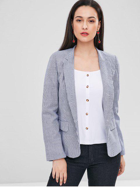 shop Striped One Button Pocket Blazer - GRAY L Mobile