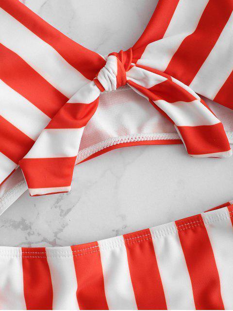 Traje de baño de corte frontal con lazo a rayas - Rojo Lava M Mobile