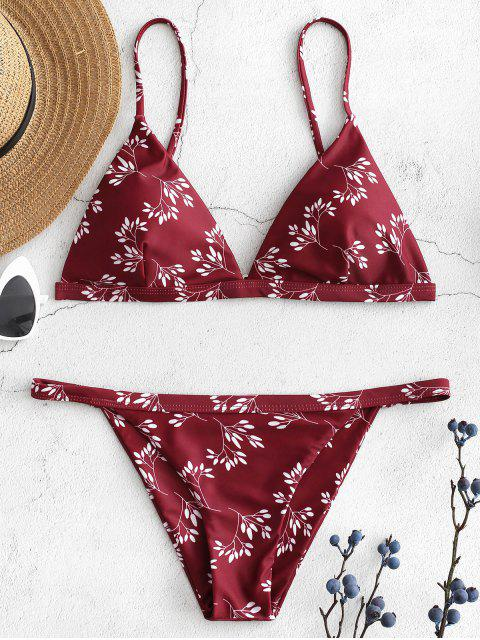 Bikini String Imprimé - Rouge Vineux L Mobile