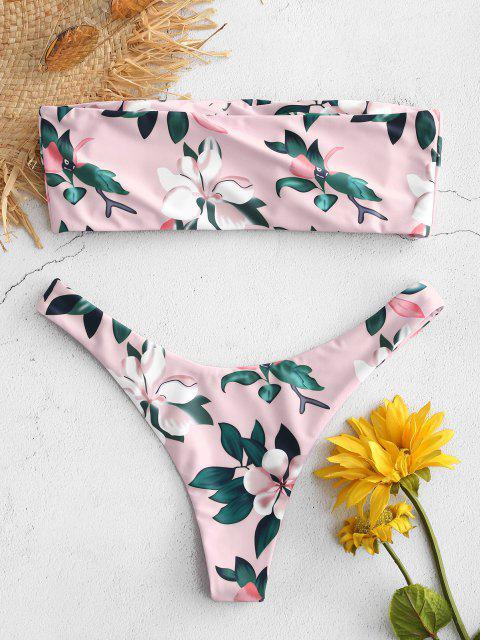 sale Plant Print Bandeau Bikini Set - SAKURA PINK L Mobile