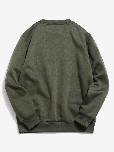 Chest Camo Pocket Fleece Moletom - Exército Verde M