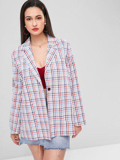 Gingham One Button Tunic Blazer - Multi-a M
