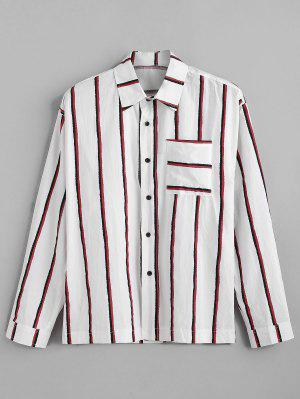 Brusttasche vertikal gestreiften Print Langarm-Shirt