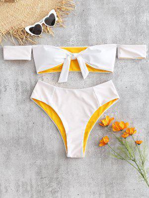 Off Shoulder Knotted Bikini Set - White S