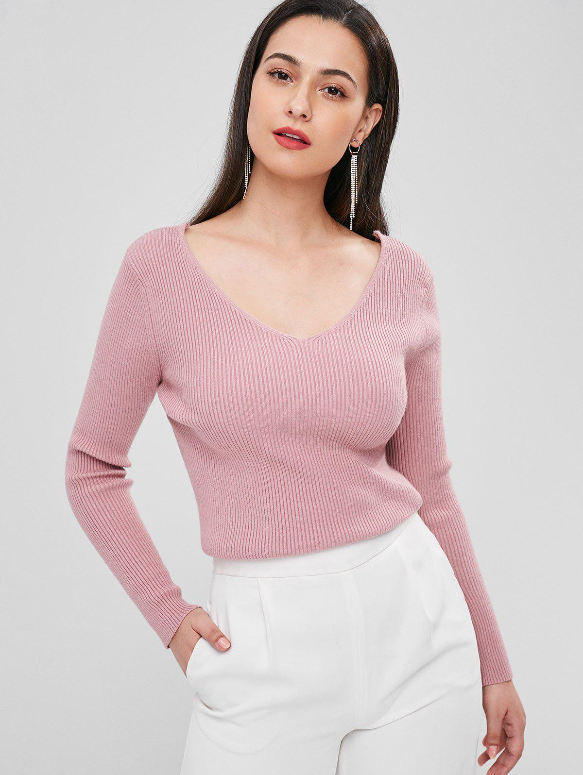 Ribbed V Neck Sweater 275057701