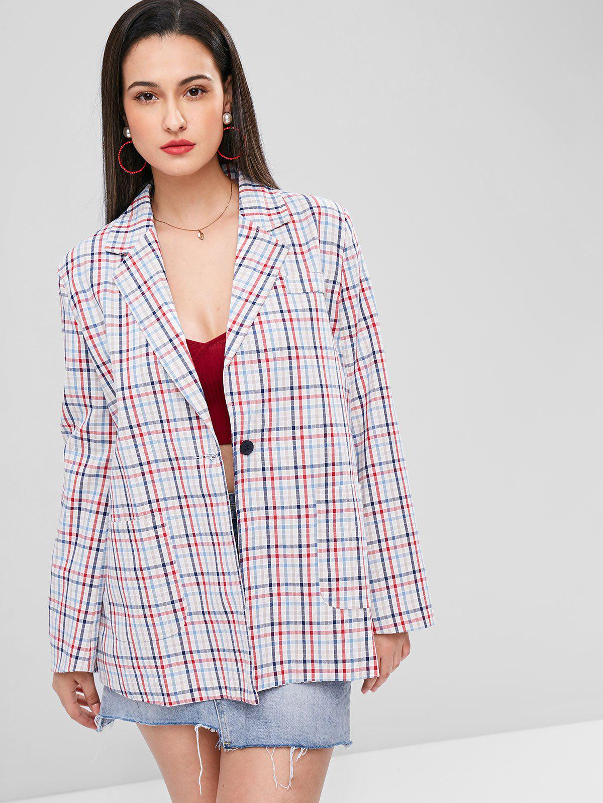 Gingham One Button Tunic Blazer
