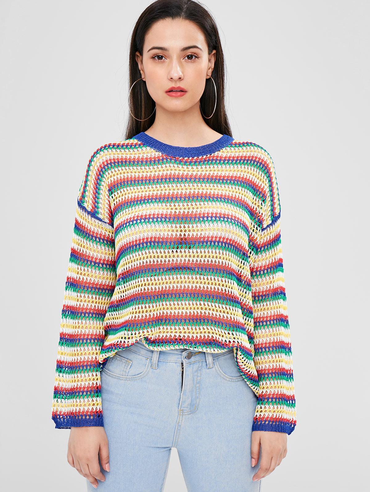 Striped Openwork Sweater