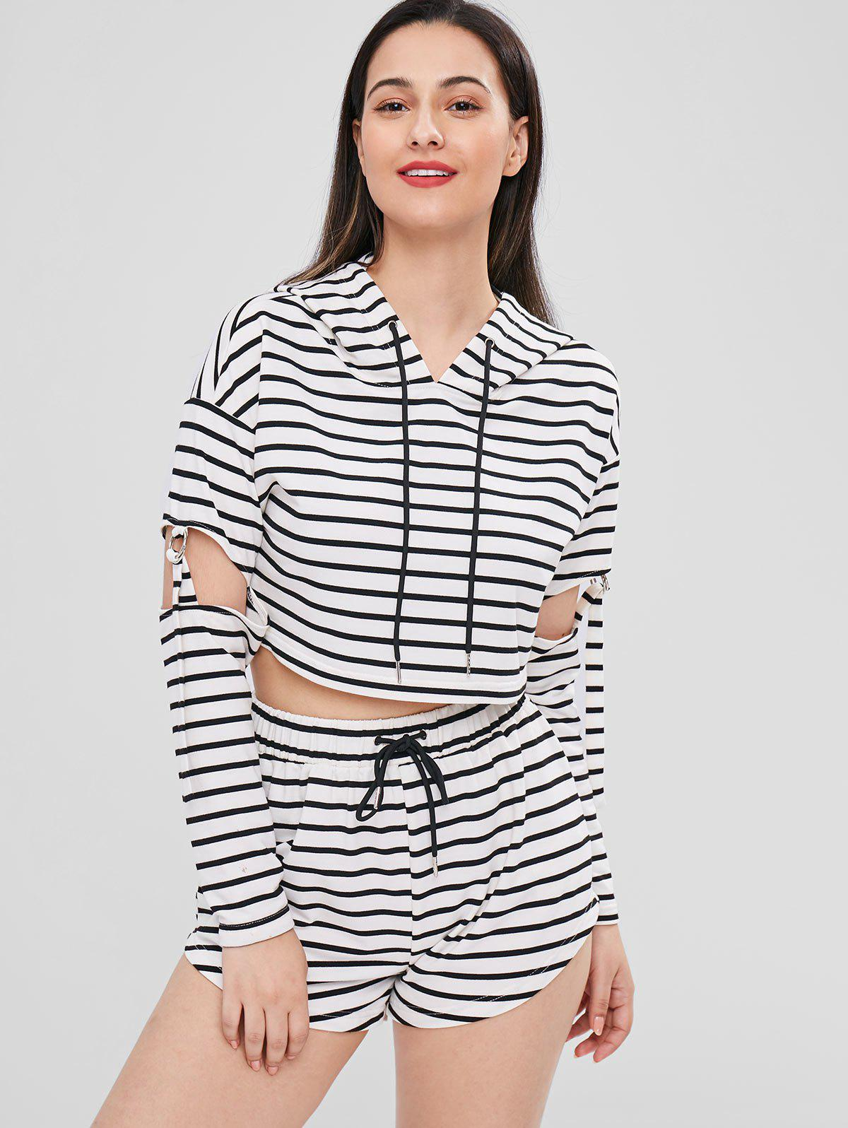Striped Cut Out Hoodie and Shorts Set 272907001
