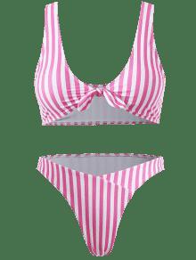 Bikini Lazo L Rosa Conjunto Tama Gran A Rayas De Con Brillante o EwSaxSqdW7