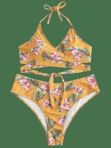 72c395bdffe88 37% OFF  2019 Floral Plus Size Wrap Bikini Set In BEER L