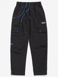 عارضة Hem Velcro متعدد جيوب السراويل - أسود M