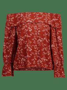 Florales Volantes Hombro o Rojo Casta En El Con Blusa apqEy5wxgA