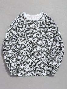 Allover American Dollar Print Sweatshirt - متعدد Xl