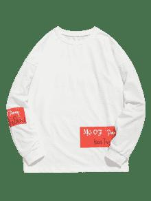 M Slogan De Informal Blanco Camiseta Estampada Graphic xw4ZanUq