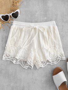 الرباط السراويل الكروشيه - أبيض