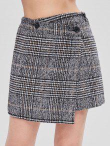 تويد تنورة ميني غير متناظرة - اللون الرمادي L