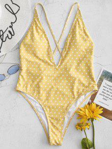 قطع بولكا دوت قطعة واحدة ملابس السباحة - المطاط الحبيب الأصفر M