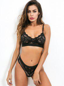f4b046d30 39% OFF   HOT  2019 Sheer Floral Lace Bra And Panty Lingerie Set In ...
