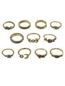 مجموعة خواتم الاصبع سبيكة زهرة القمر - ذهب مقاس واحد