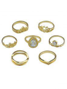زهرة جوفاء قطرة الماء تصميم خواتم الاصبع مجموعة - ذهب مقاس واحد