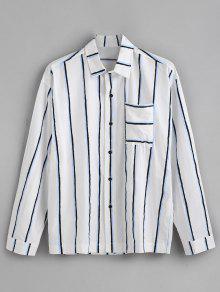 جيب الصدر عمودي مخطط طباعة قميص طويل الأكمام - أزرق 3xl