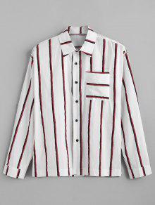 جيب الصدر عمودي مخطط طباعة قميص طويل الأكمام - أحمر 2xl