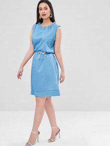 Cristal Volantes Y S Ruff Cuello Con Vestido Recto Azul TB4wOq1