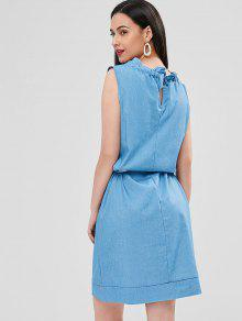 S Con Azul Vestido Recto Cuello Cristal Y Volantes Ruff OqxTZw6Pn
