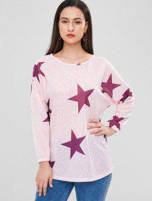 Rosa Longline Claro Camiseta S De Estrellas q4ZZwEgt