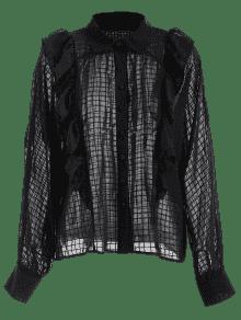 Negro Con L Blusa Escarpada Volantes Cqw5tUt