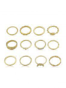 مجموعة 12Pcs حجر الراين الديكور الدائري - ذهب مقاس واحد