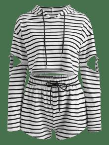 Corte Capucha Con Conjunto Cortos Pantalones Y Con A Rayas S Multi apY5qOwOx
