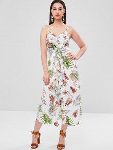 فستان بطبعة أوراق الكشكشة من Cinched - متعدد Xl
