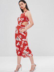 9327e2864ba1 21% OFF  2019 Flower Bowknot Wide Leg Jumpsuit In LOVE RED