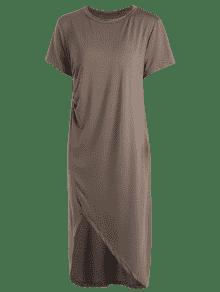 Camiseta Caf De La La Raja Abertura Midi Ocasional La De Vestido De qZEpP