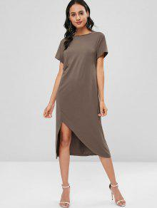 Midi Casual Slit Shift Tee Dress - قهوة