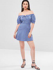 Azul Con S Cordones Vestido Acero Lunares De EqH6I