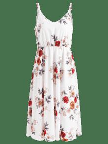 Blanco S Floral Vestido Acampanado Cami De gqxHwva0