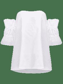Del La Hombro Blanco Blusa Volante De 7U8qFF