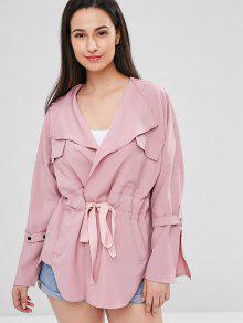 جيب خندق معطف - خنزير وردي