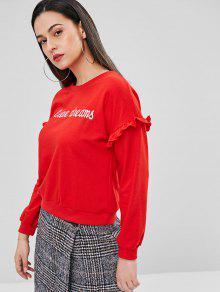 Frilled Con Rojo De S Bordada Sudadera Letras q4wIx8Up