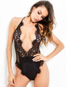 Snap Crotch Sheer Lace Plunge Teddy Bodysuit