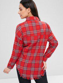 Dobladillo A Cuadros Camisa Crudo Multicolor AX0pnYqw