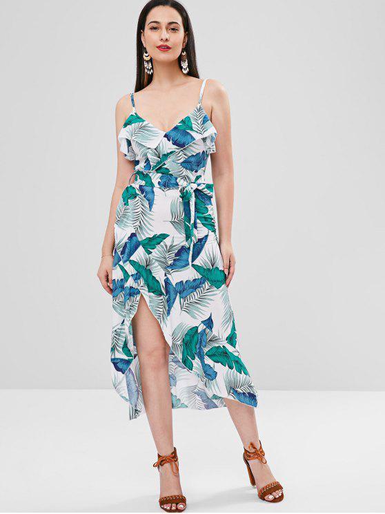 affordable Ruffle Palm Leaf Cami Dress - MULTI XL