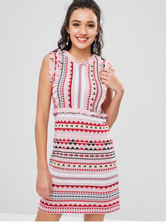 ladies Frilled Metal Thread Knitted Dress - MULTI ONE SIZE